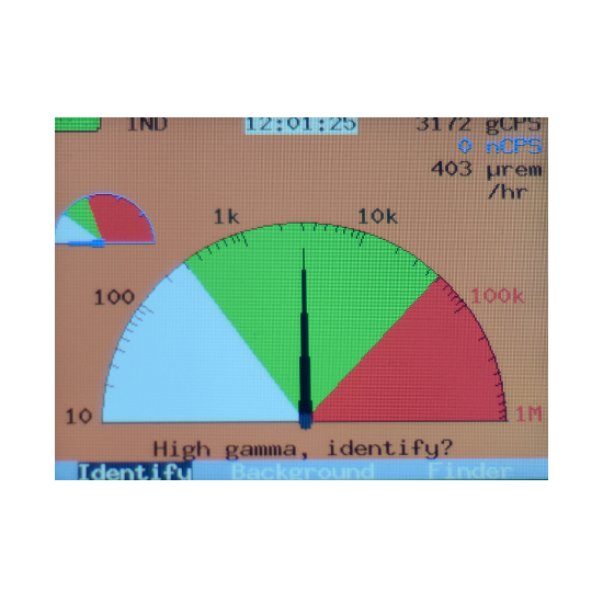 SAM940 radiation hazard detection simulator screen view