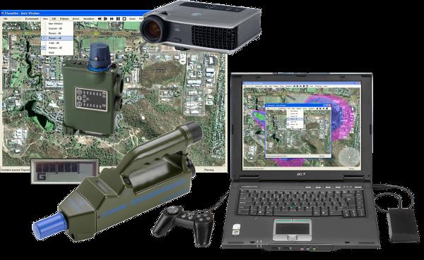 PlumeSIM Wide-Area CBRNe / HazMat training system table-top-classroom-mode